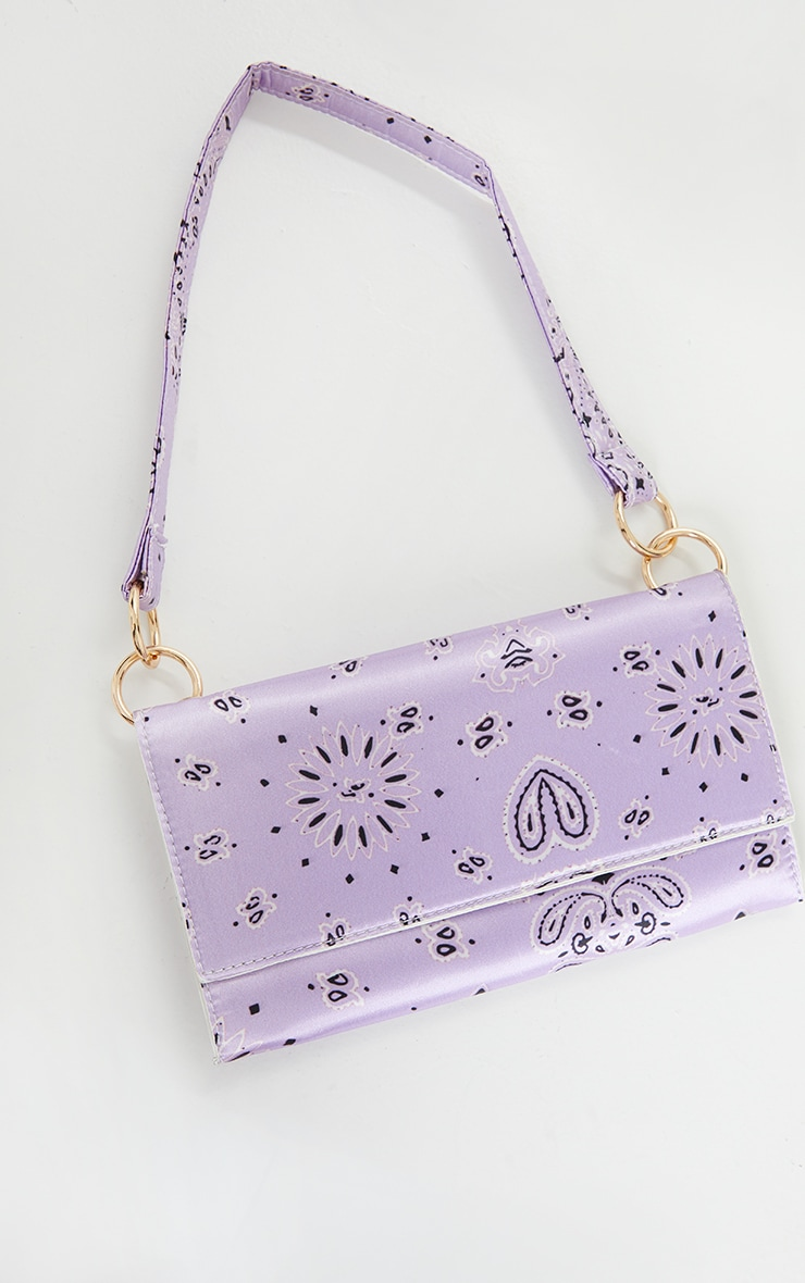 Lilac Scarf Print Shoulder Bag 1