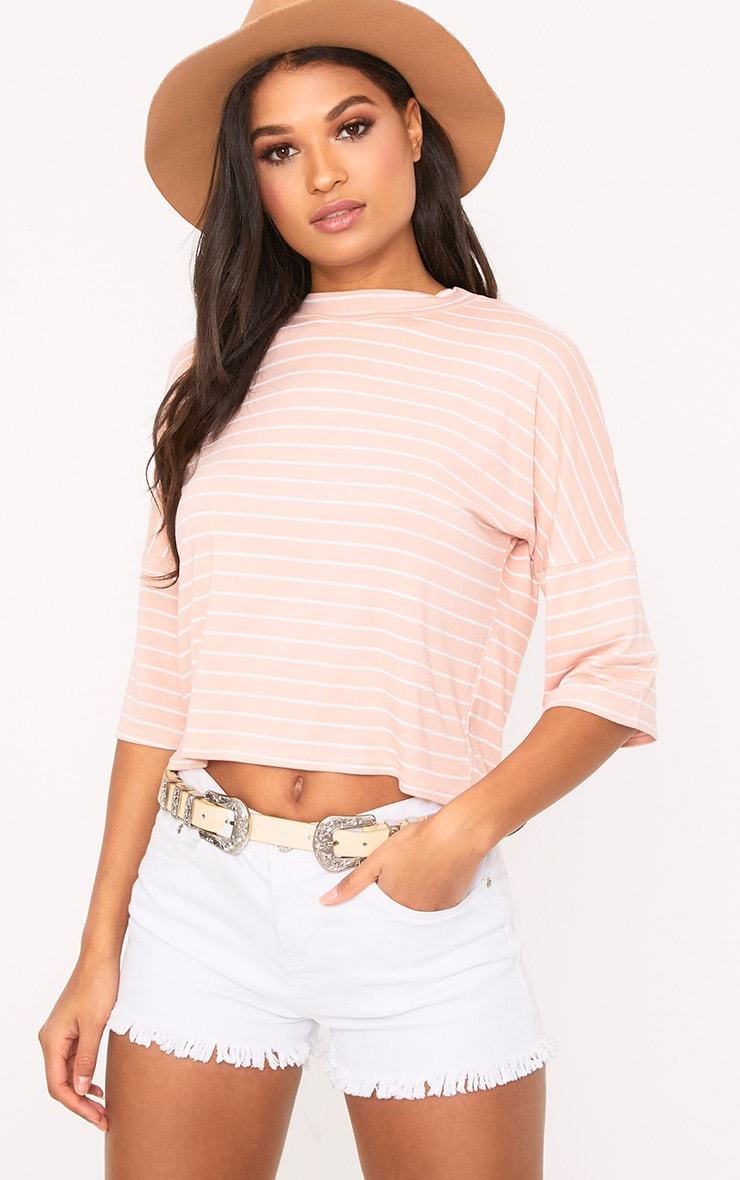 Pink Stripe Oversized T Shirt 1