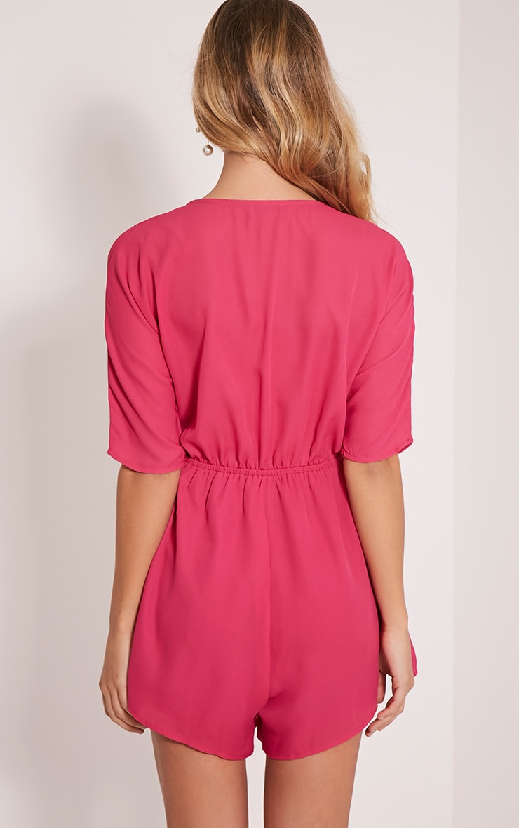 Bobby Hot Pink Wrap Front Playsuit 2