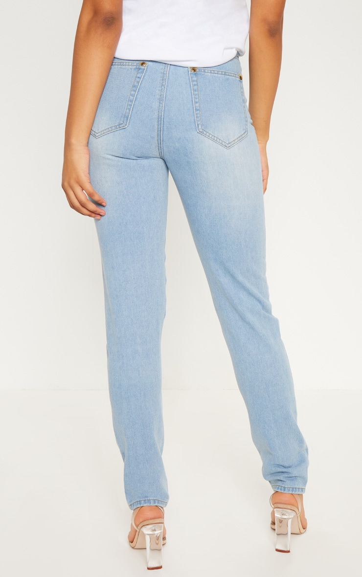 Tall Mid Wash Extreme Distressed Mom Jeans 4