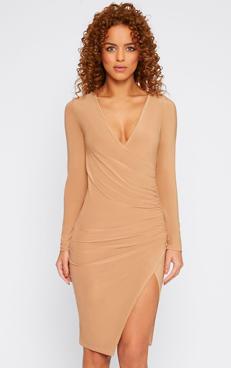 Iona Camel Slinky Wrap Over Gathered Mini Dress 1