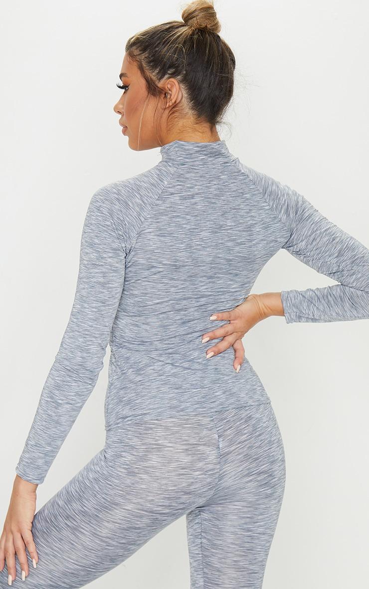 Light Grey Marl Zip Up Long Sleeve Gym Top 2