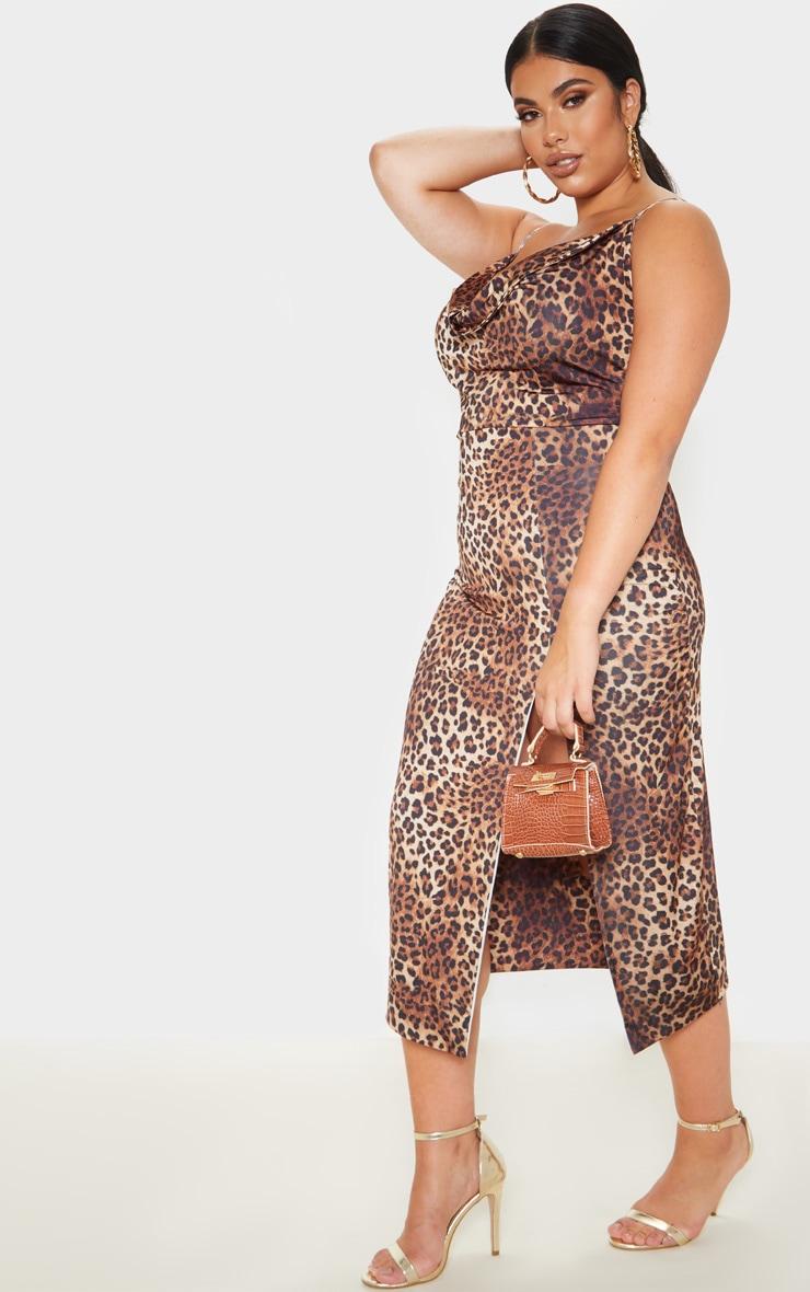 Plus Brown Leopard Print  Extreme Split Midi Dress  4