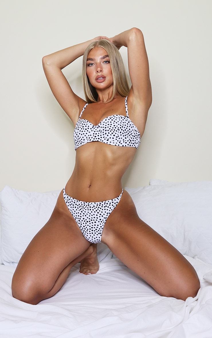 White Polka Dot Channel Detail Cupped Bikini Top 1
