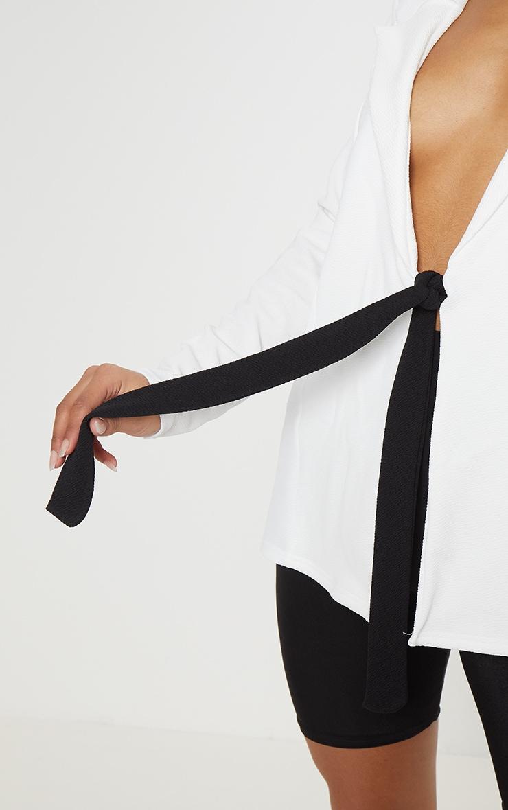 White Contrast Side Tie Blazer  5