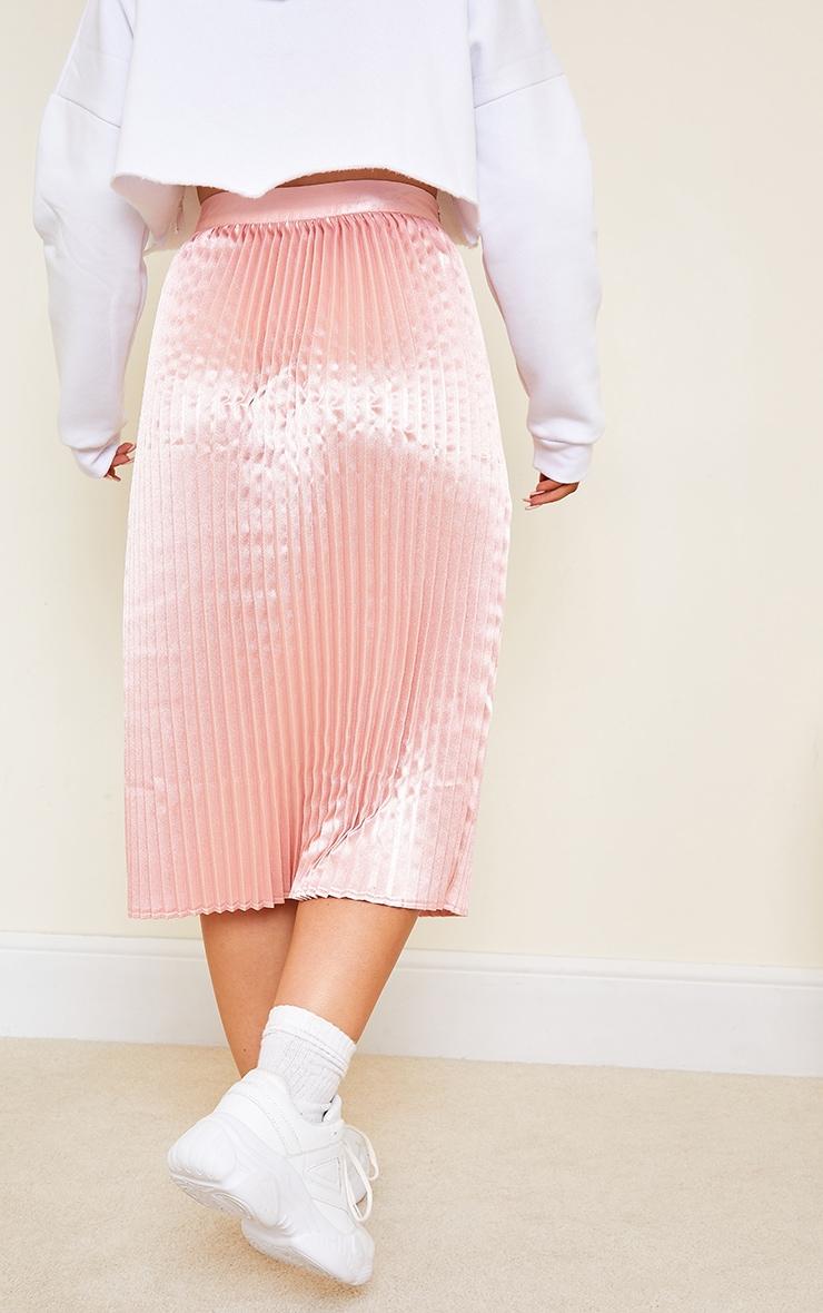 Pink Satin Pleated Midi Skirt 3