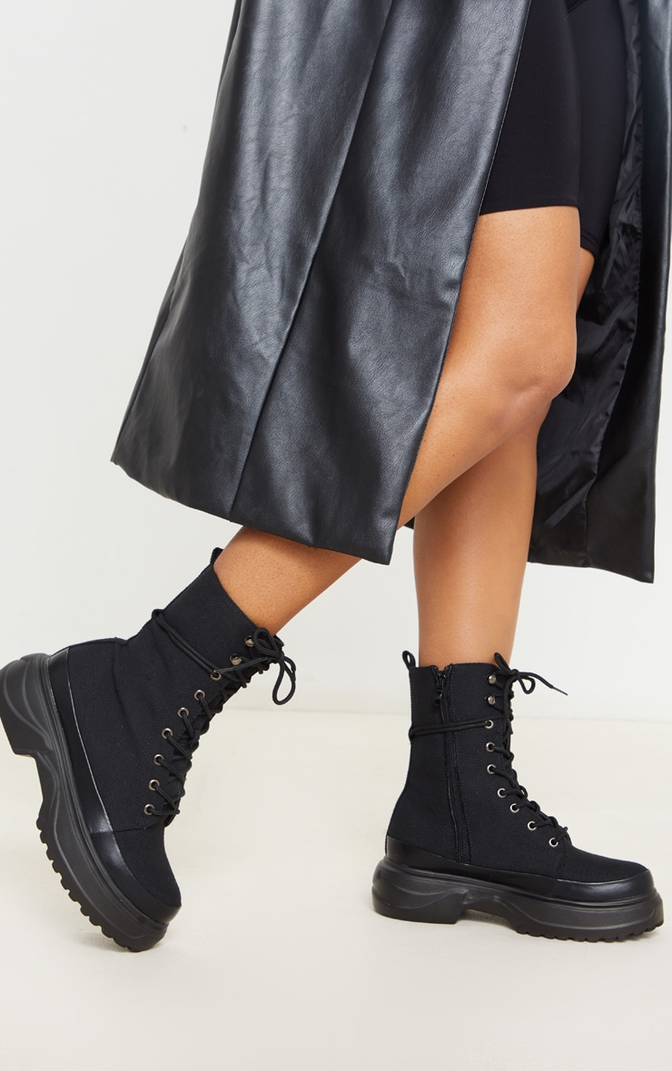 Black Canvas Chunky Sole Hiker Boots 2