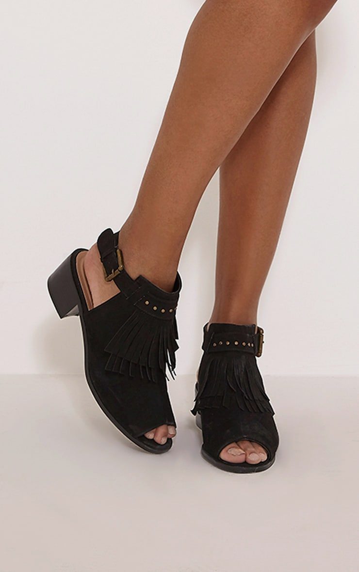 Jena Black Faux Suede Fringed Sandals 1
