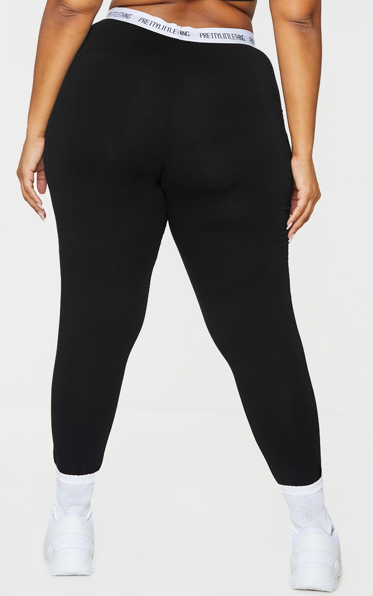 Essential PRETTYLITTLETHING Plus Black Cotton Blend Leggings 3