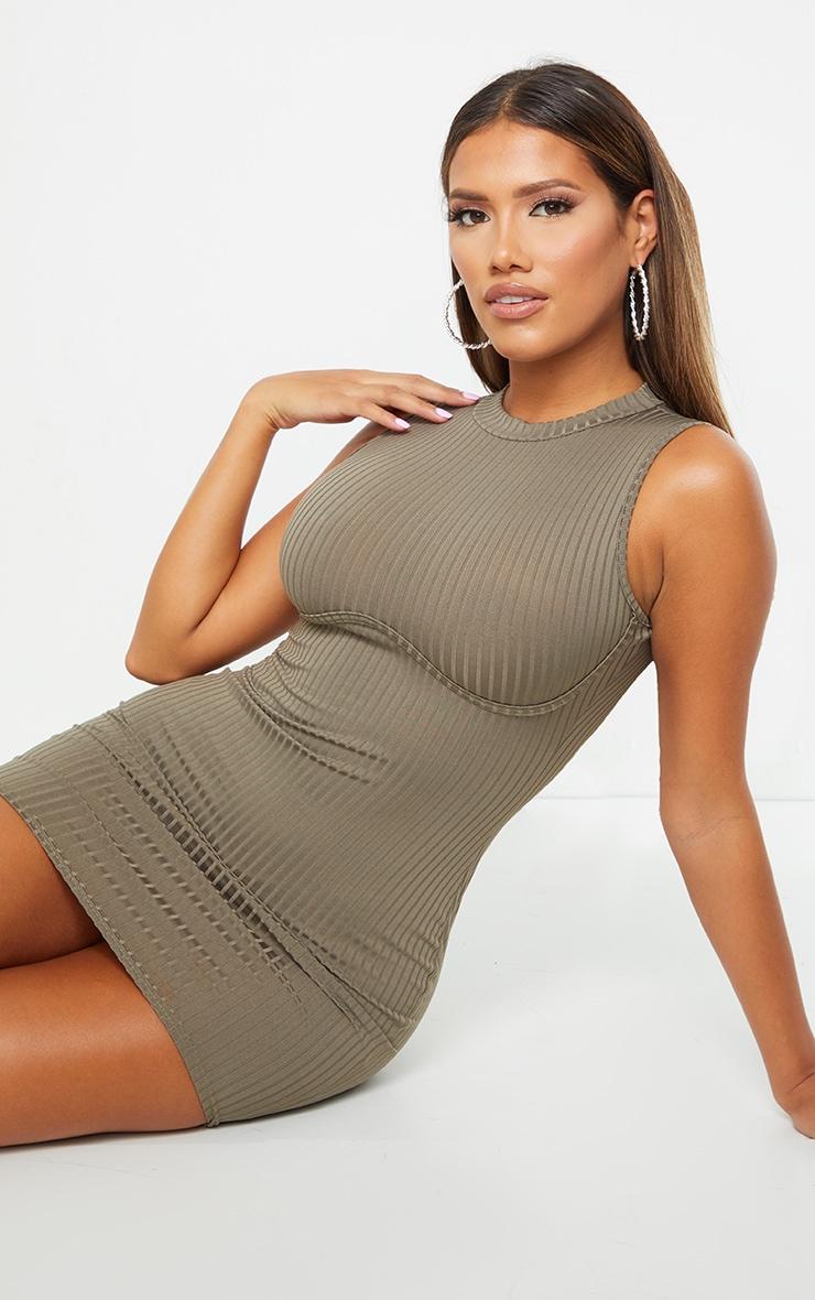 Shape Khaki Rib Underbust Detail Bodycon Dress 3