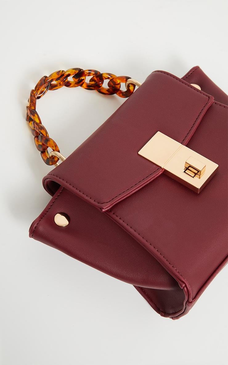 Burgundy Square Mini Bag Tortoiseshell Chain Handle 3