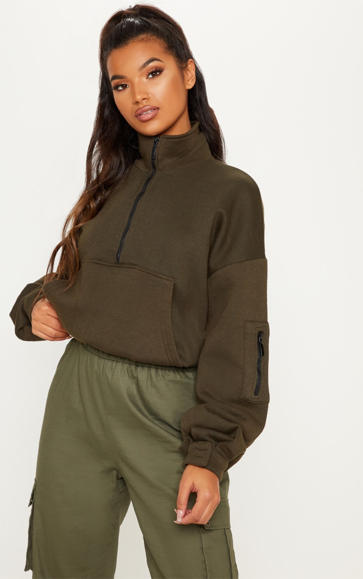 Khaki Oversized Zip Front Sweater  1