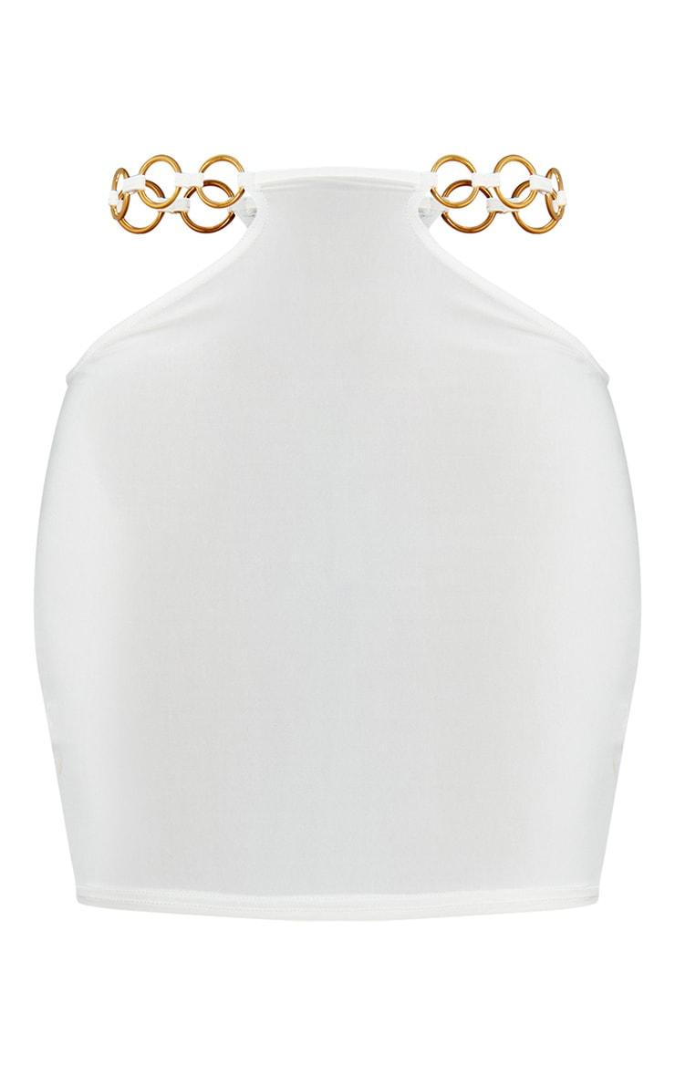Cream Slinky Cut Out Waist Mini Skirt 6