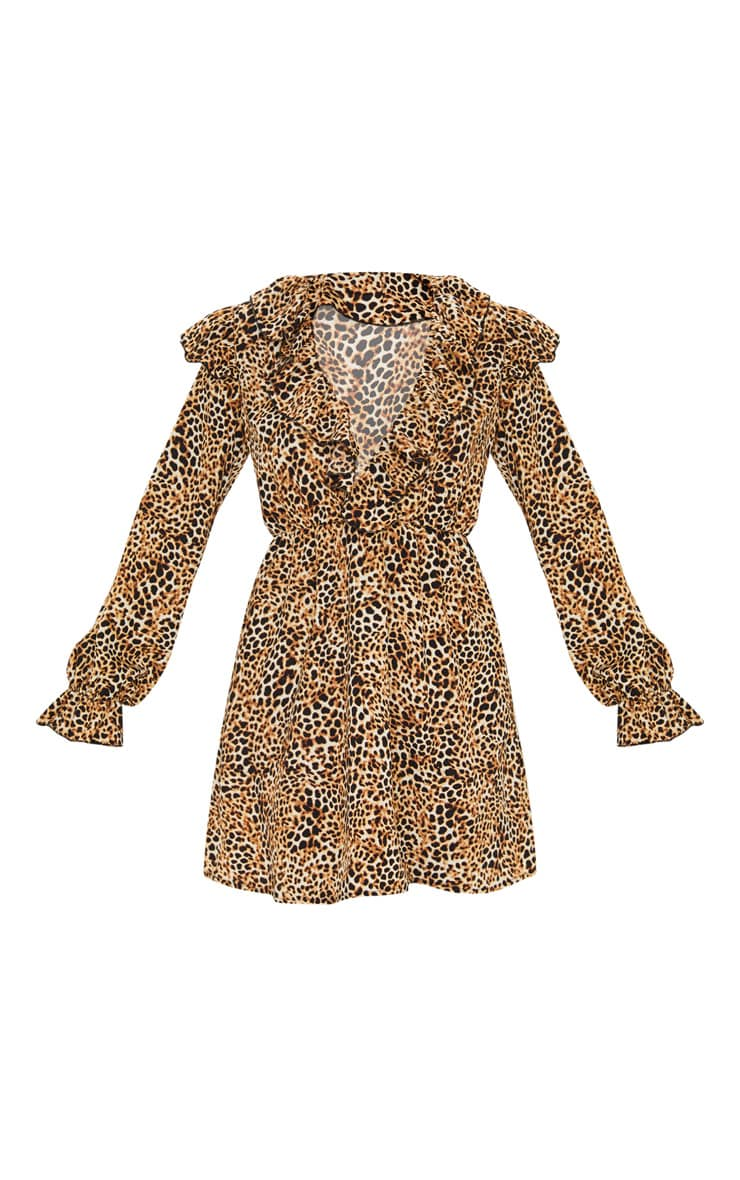 Brown Leopard Print Frill Detail V Neck Shift Dress  3