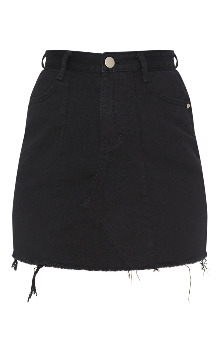 Black Basic Denim Skirt  3
