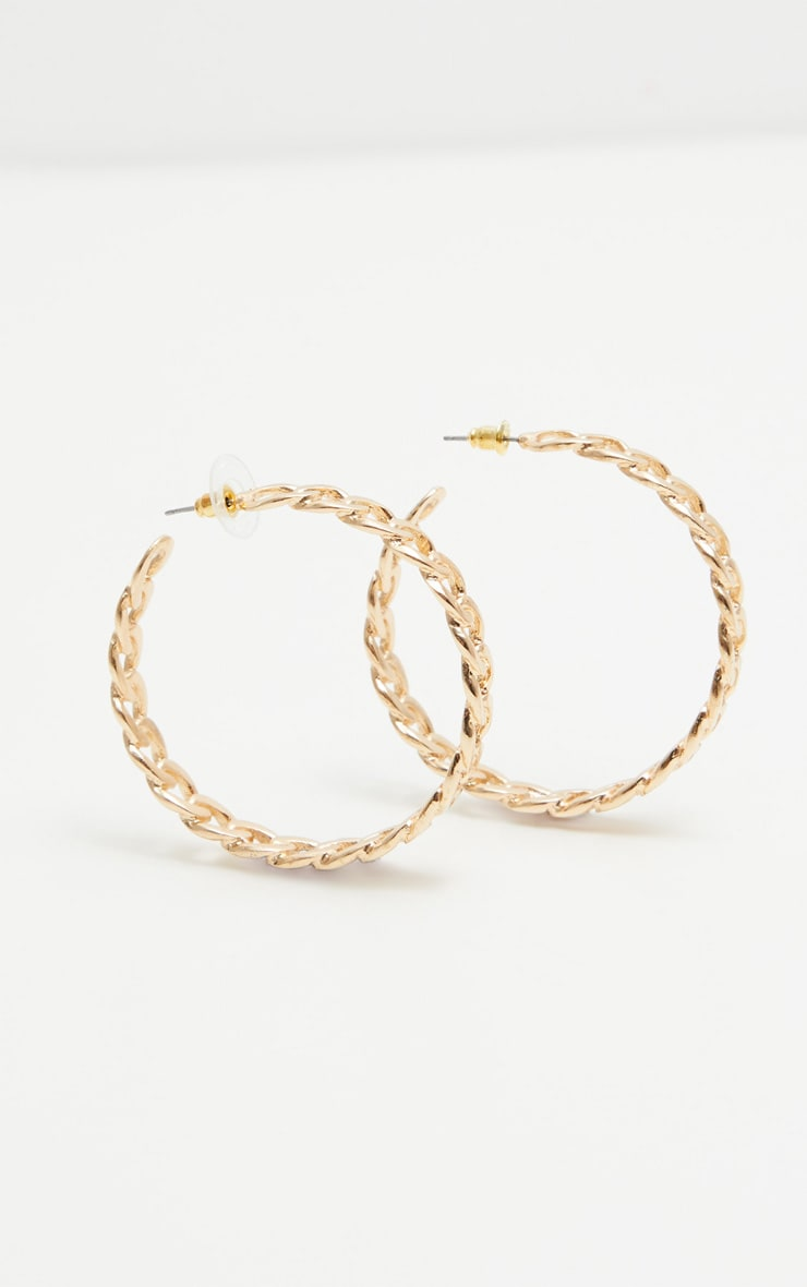 Gold Chained Hoop Earrings 3