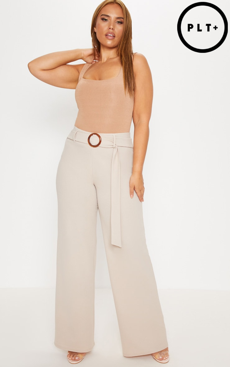 PLUS STONE TORTIOSE SHELL RING DETAIL WIDE LEG TROUSER