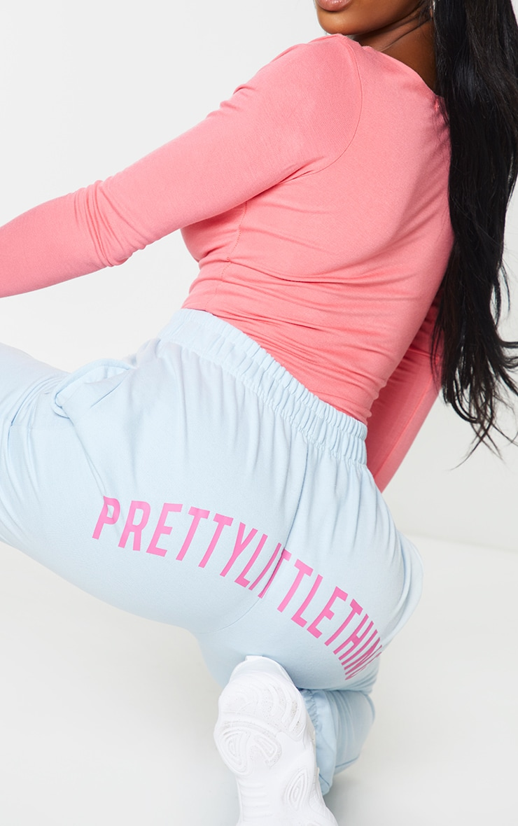 PRETTYLITTLETHING Shape Baby Blue Printed Bum Joggers 4