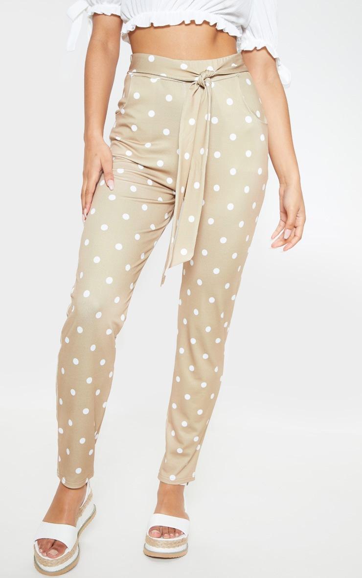 Taupe Polka Dot Print Tie Waist Cigarette Trouser 2