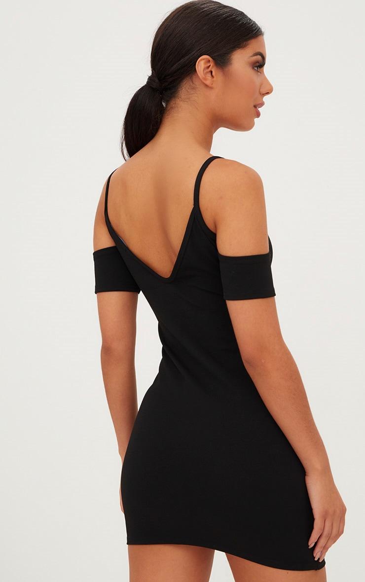 Black Cold Shoulder Lace Up Detail Bodycon Dress  2
