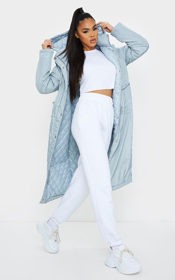 Grey Nylon Toggle Waist Maxi Hooded Parka Jacket image 3