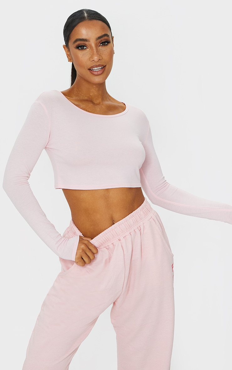 Basic Pink  Jersey Long Sleeve Crop Top 1