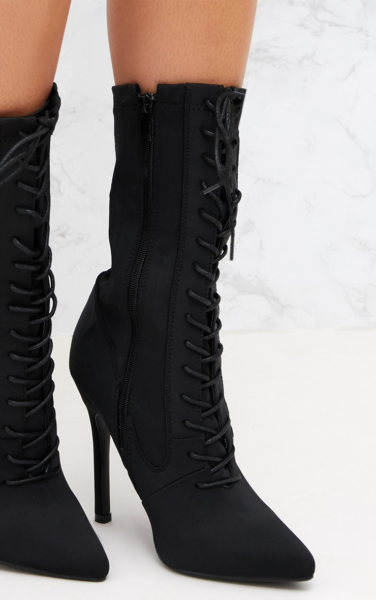 Black Lace Up Front Sock Boots 6