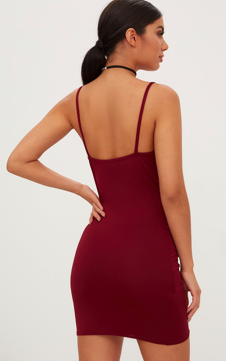Burgundy Strappy Plunge Wrap Skirt Bodycon Dress 2