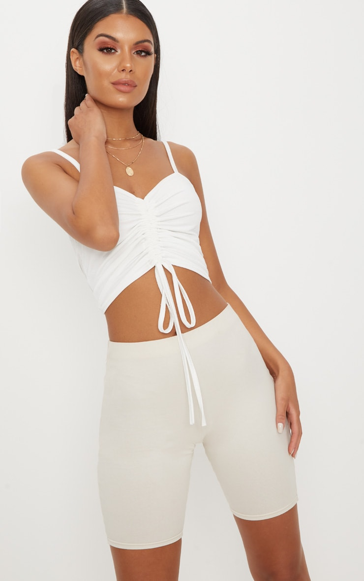 White Ruched Front Strappy Crop Top 1