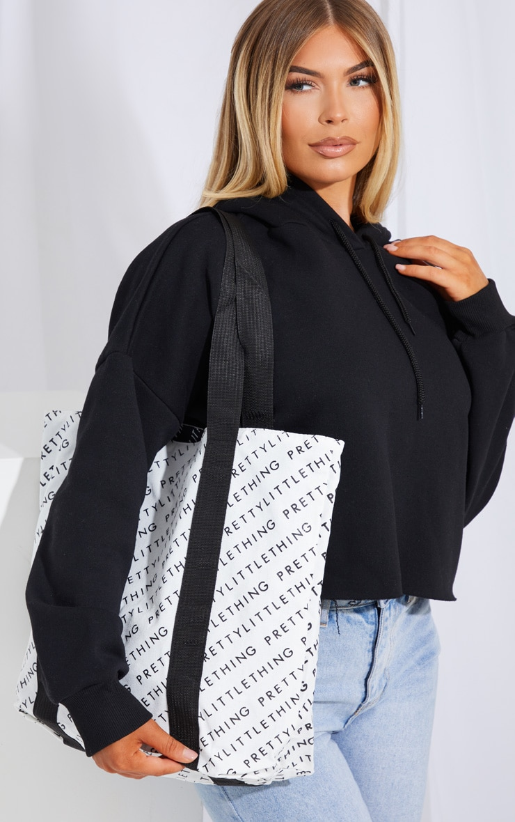 PRETTYLITTLETHING Black And White Reversible Shopper Bag 1