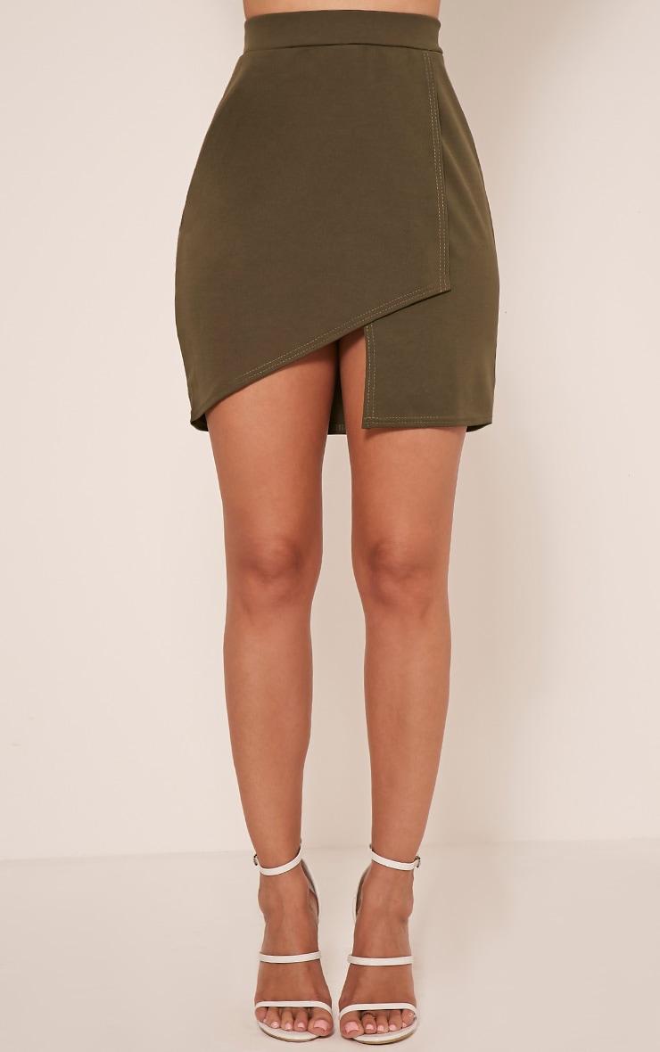 Marcella Khaki Asymmetric Wrap Mini Skirt 2