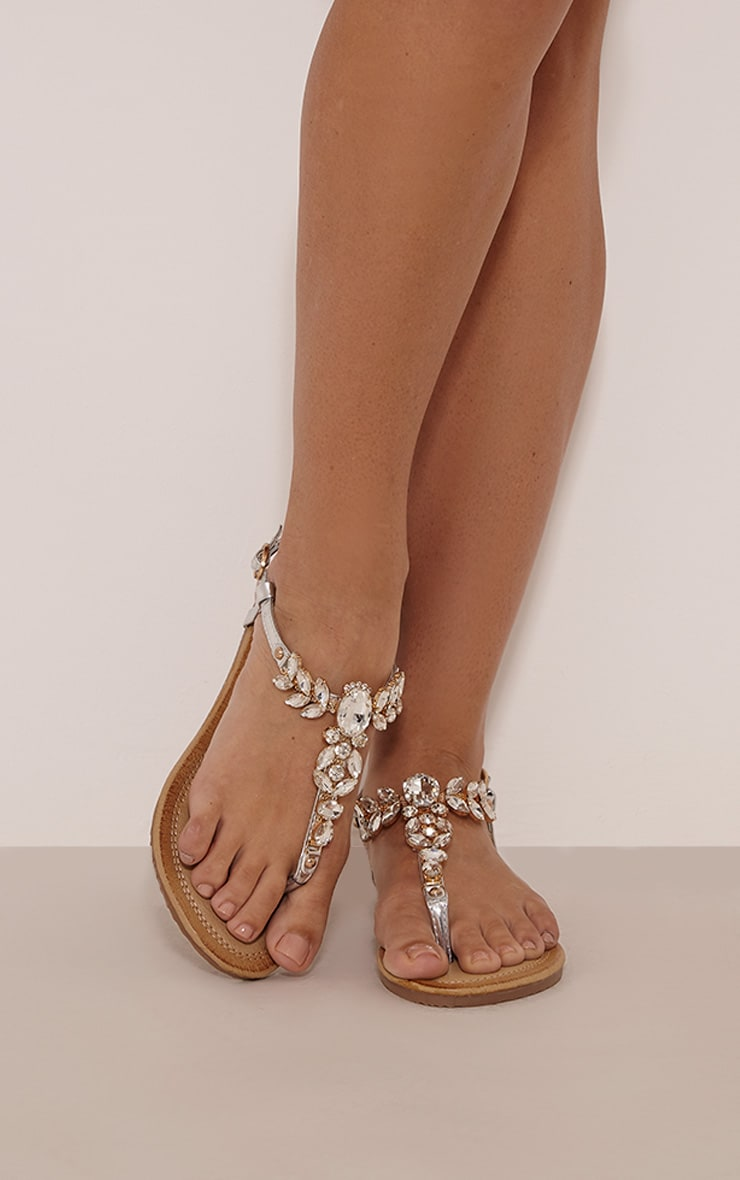 Samiria Silver Metallic Jewel Detail Sandals 1