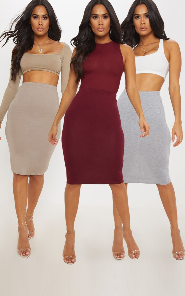 Grey Maroon and Taupe Basic Jersey Midi Skirt 3 Pack 1