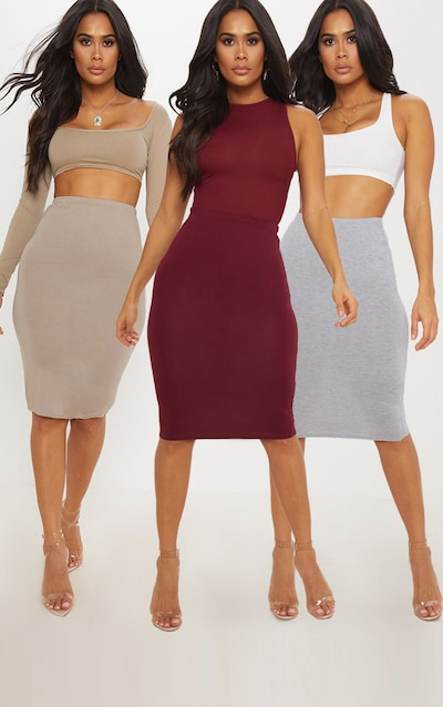 Grey Maroon and Taupe Basic Jersey Midi Skirt 3 Pack