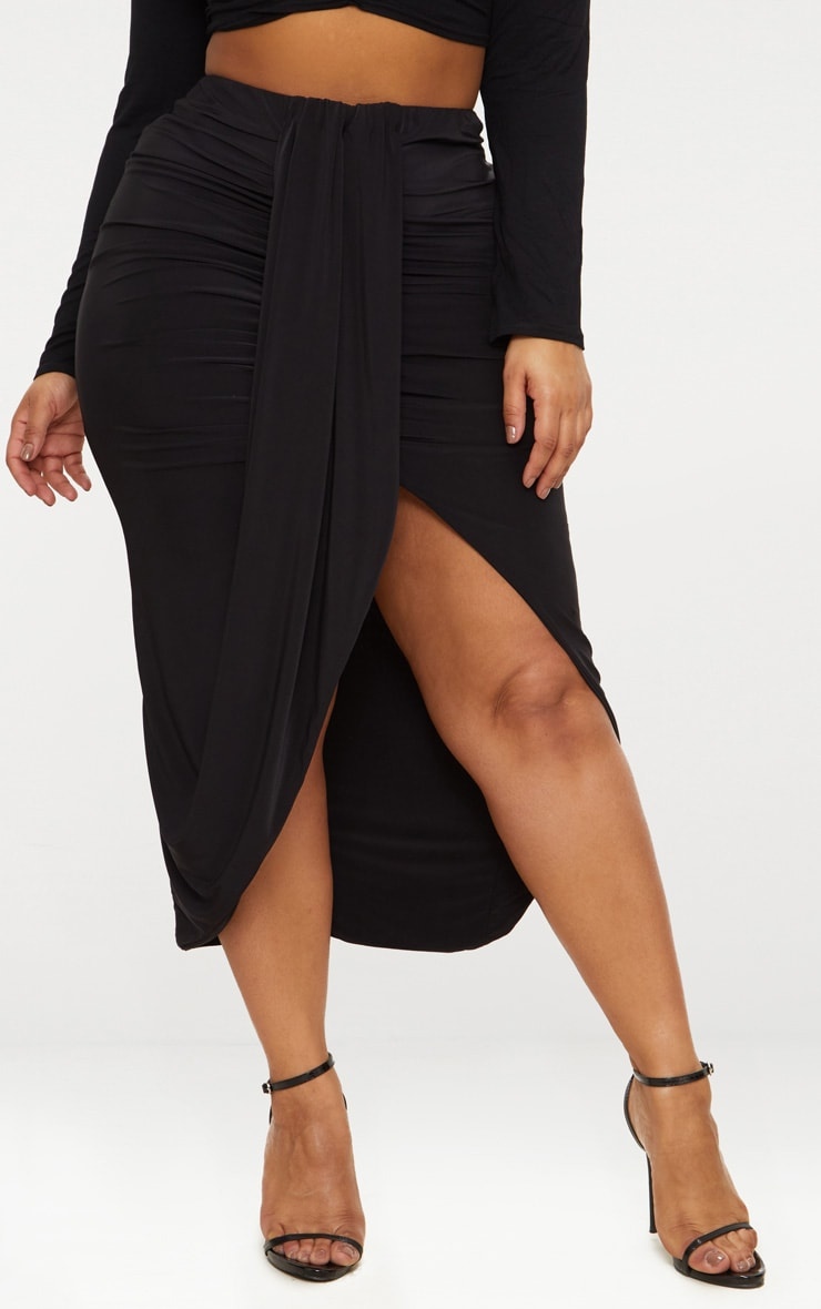 Plus Black Slinky Ruched Wrap Front Midi Skirt 2