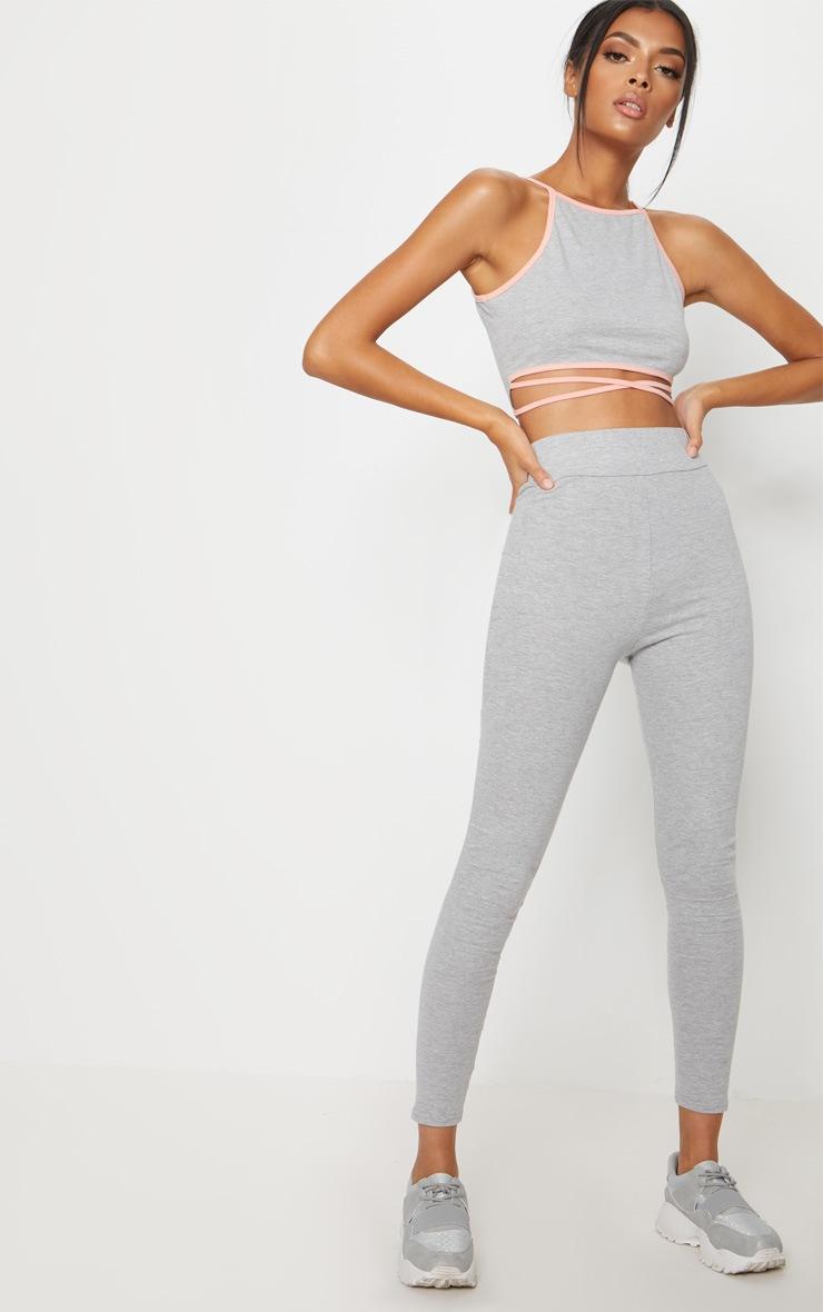 Grey Cotton Sports Leggings 1