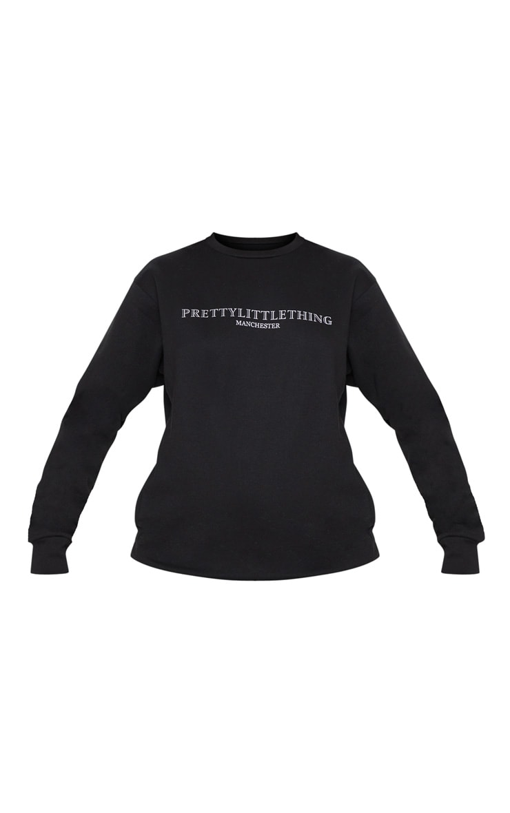 PRETTYLITTLETHING Black Manchester Print Sweater 3