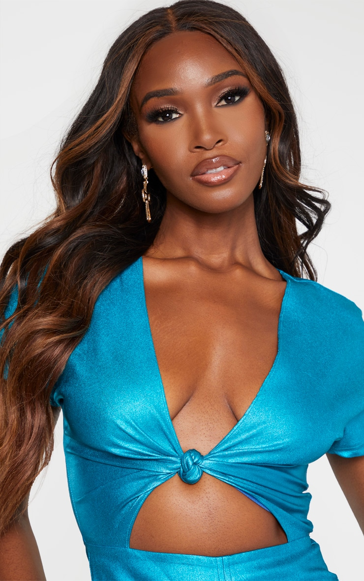 Blue Metallic Cut Out Ruched Bodycon Dress 5