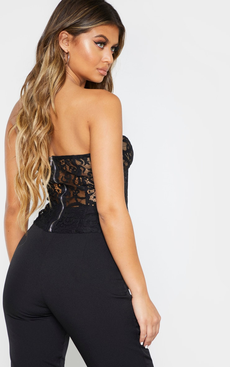 Black Sheer Lace Structured Corset Top 2