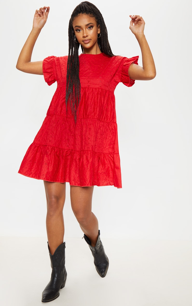 Red Broderie Anglaise Smock Dress 4