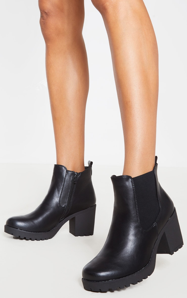 Black Cleated Chelsea Ankle Boots 1