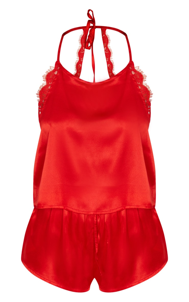 Red Lace Back Cami Satin Pj Set 5