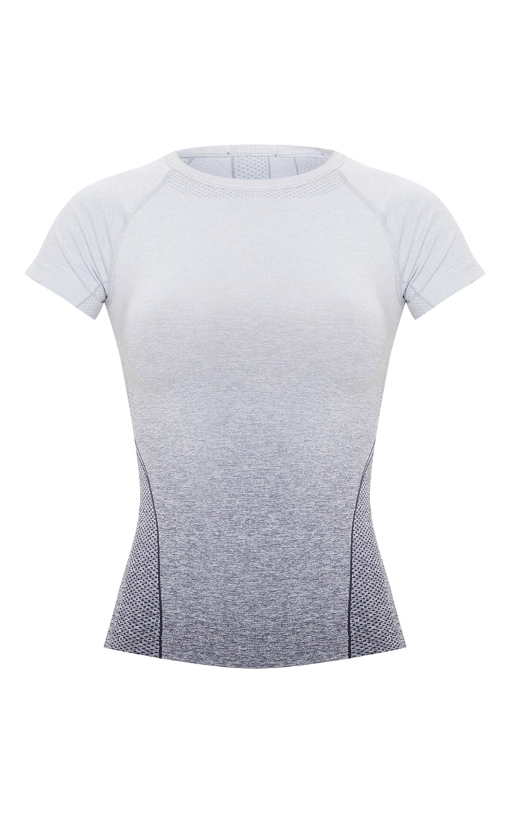 Grey Marl Ombre Seamless Gym T-Shirt 3