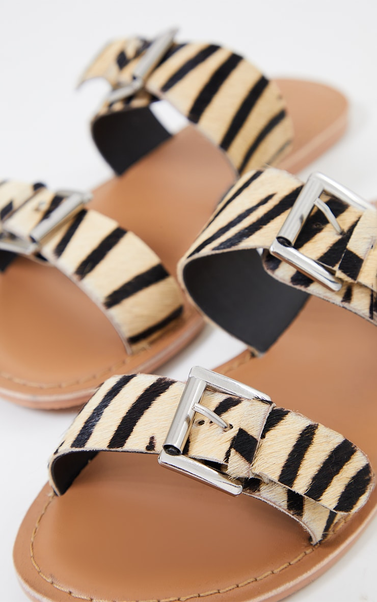 Zebra Wide Fit Real Leather Buckle Detail Double Strap Mule Sandals 3