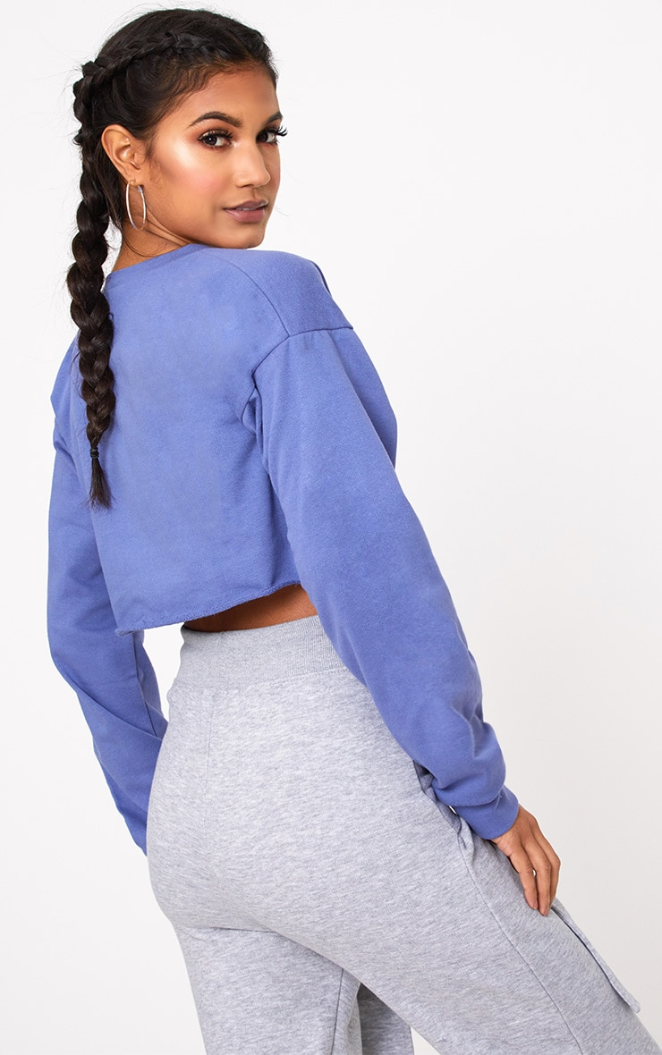 Beau Blue Cut Off Crop Longsleeve Sweater 2