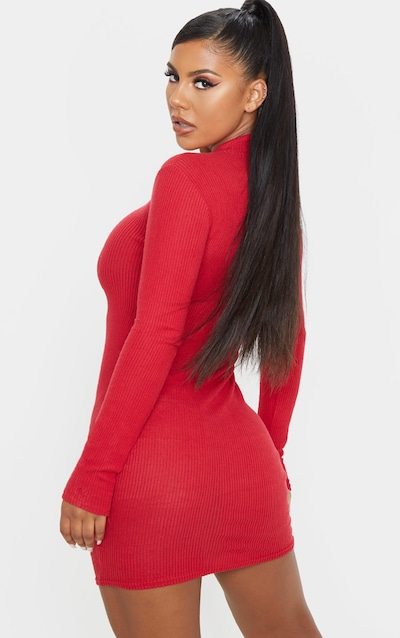 Scarlet Brushed Rib Long Sleeve Zip Front Bodycon Dress