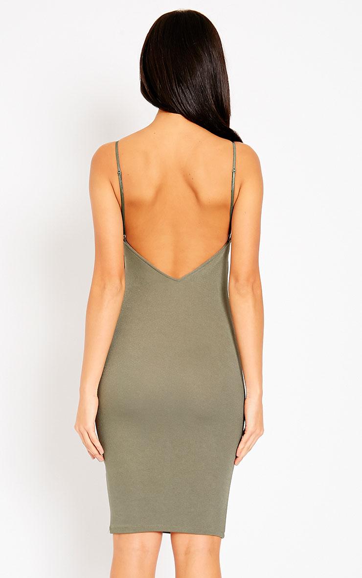 Ada Khaki V Back Crepe Midi Dress 2