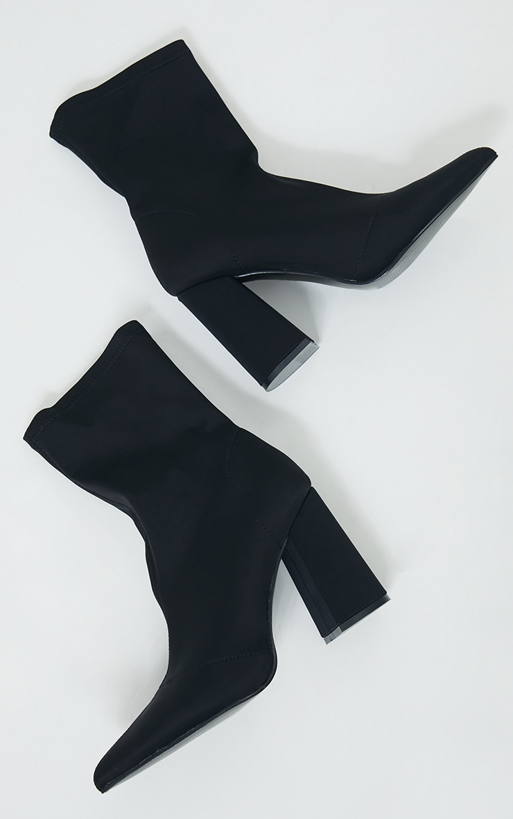 Black Wide Fit Block Heeled Point Toe Sock Boots 3