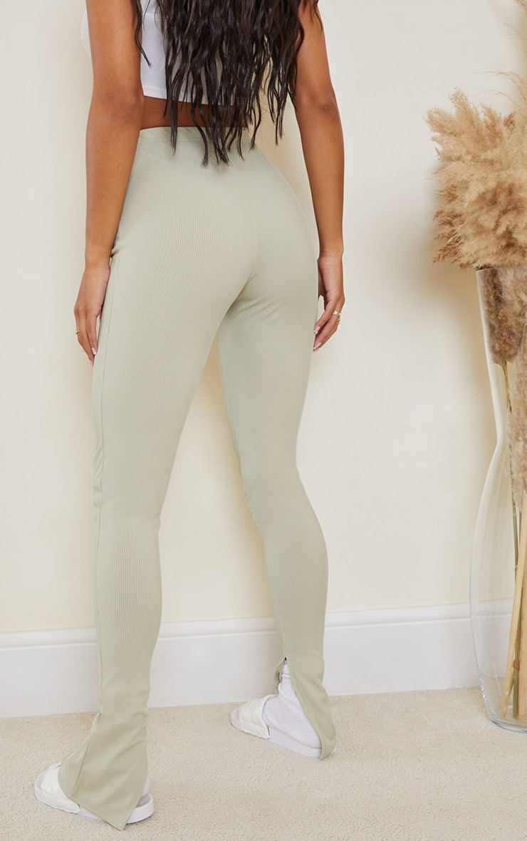 Sage Khaki Ribbed Split Hem Leggings 3