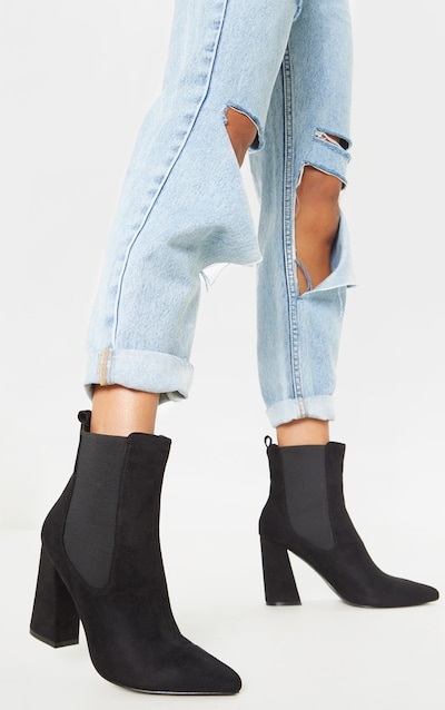 Black Point Toe Block Heel Chelsea Ankle Boot